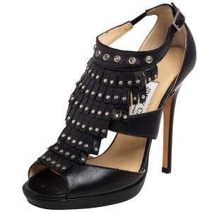 Jimmy Choo Black Leather Studded Mia Platform Sandals Size 36