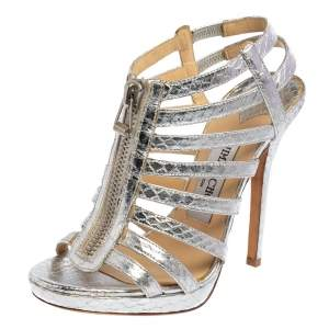 Jimmy Choo Silver Snake Embossed Leather Glenys Gladiator Sandals Size 36.5