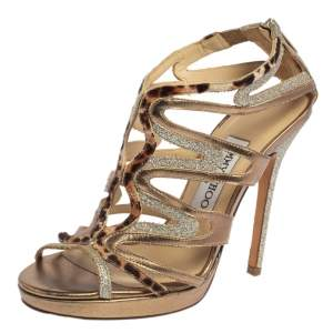 Jimmy Choo Coarse Glitter Leather And Calf Hair Trim Mercury Cage Open Toe Sandals Size 36.5