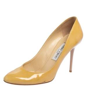 Jimmy Choo Light Yellow Patent Leather Bridget Round Toe Pumps Size 38.5