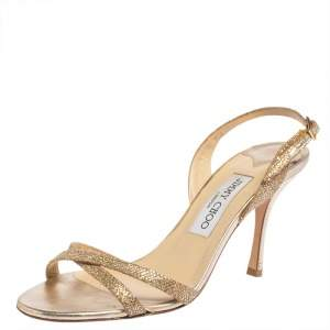 Jimmy Choo Gold Leather and Glitter India Slingback Sandals Size 37.5