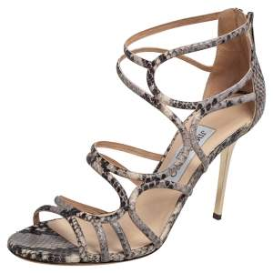 Jimmy Choo Black/Beige Python Embossed Leather Sutri Sandals Size 38.5