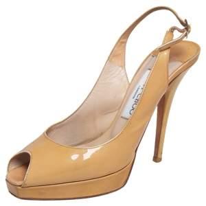 Jimmy Choo Beige Patent Leather Vita Peep Toe Platform Slingback Sandals Size 36.5