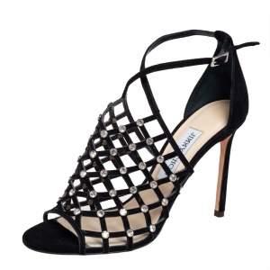 Jimmy Choo Black Suede Crystal Embellished Donnie Sandals Size 39