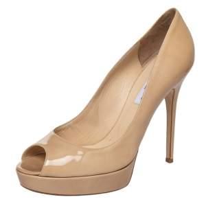 Jimmy Choo Beige Patent Leather Crown Peep Toe Platform Pumps Size 41.5