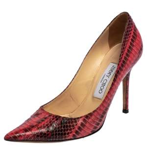 Jimmy Choo Red Python Anouk Pointed Toe Pumps Size 36