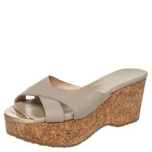 Jimmy Choo Grey Leather Prima Cork Wedge Platform Slide Sandals Size 38