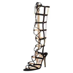 Jimmy Choo Black Suede Mogul Cage Lace Up Gladiator Sandals Size 39
