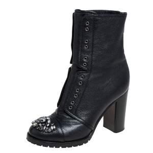 Jimmy Choo Black Leather Crystal Embellished Hatcher Boots Size 35