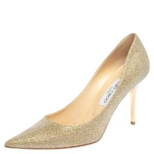 Jimmy Choo Gold Lurex Fabric Romy Pointed Toe Pumps Size 38.5