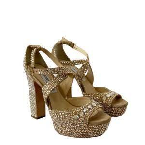 Jimmy Choo Gold-Tone Crystal Embellished Platform Criss-Cross Sandals Size EU 38.5
