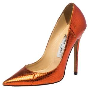Jimmy Choo Metallic Python Embossed Leather Abel Pointed Pumps Size 37