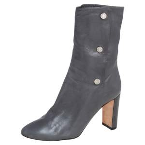 Jimmy Choo Grey Leather Dayno Ankle Boots Size 37