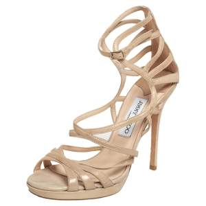 Jimmy Choo Gold Suede Strappy Sandals Size 38