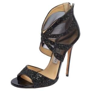 Jimmy Choo Black Glitter and Mesh Leila Sandals Size 36.5