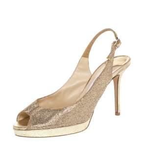 Jimmy Choo Gold Glitter And Lurex Fabric Nova Peep Toe Slingback Sandals Size 38.5