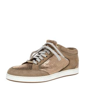 Jimmy Choo Beige Glitter And Suede Miami Lace Up Sneakers Size 38