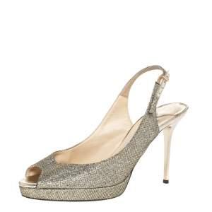 Jimmy Choo Metallic Gold Glitter Peep Toe Slingback Sandals Size 39