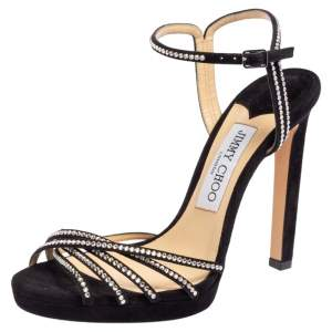 Jimmy Choo Black Suede Crystal Embellished Lilah Sandals Size 37.5