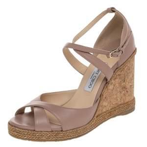 Jimmy Choo Beige Leather Alanah Cork Wedge Espadrille Ankle Strap Sandals Size 41