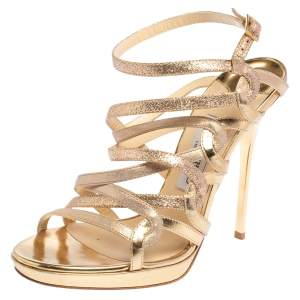 Jimmy Choo Gold Suede, Leather, and Lurex Dart Strappy Sandals Size 38
