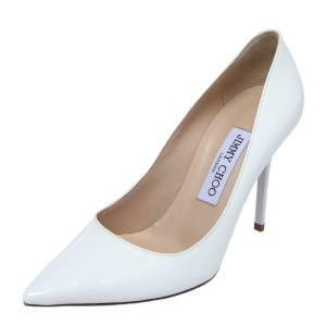 Jimmy Choo White Patent Leather Romy Pointed Toe Pumps Size 36.5