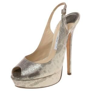 Jimmy Choo Metallic Gold Embossed Leather Vita Peep Toe Platform Slingback Sandals Size 38