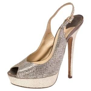 Jimmy Choo Gold/Silver Glitter and Leather Vita Peep Toe Slingback Sandals Size 37