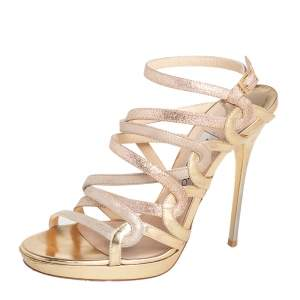 Jimmy Choo Gold Suede and Glitter Leather Dart Strappy Sandals Size 37