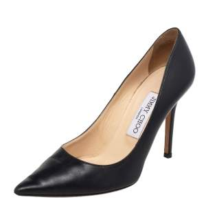Jimmy Choo Black Leather Pointed Toe Pumps Size 36
