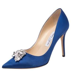 Jimmy Choo Exclusive Collection Blue Satin Manda Pointed Toe Pumps Size 38
