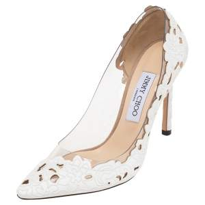 Jimmy Choo White Floral Cutout Fabric And Clear PVC Romy Pointed Toe Pumps Size 38
