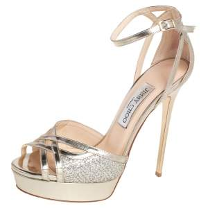 Jimmy Choo Metallic Gold Leather and Glitter Laurita Platform Ankle Strap Sandals Size 39
