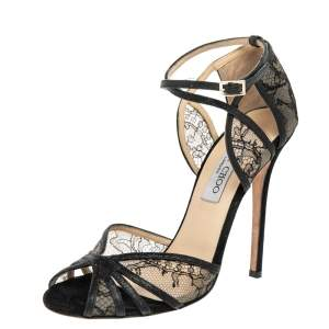 Jimmy Choo Black Lace And Glitter Fitch Ankle Strap Sandals Size 38.5