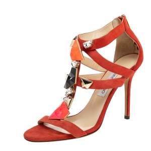 Jimmy Choo Orange Suede Agave Crystal Embellished T Strap Sandals Size 40