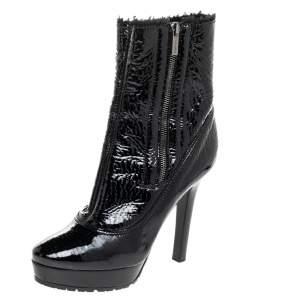 Jimmy Choo Black Patent Leather Trixie Platform Ankle Boots Size 39
