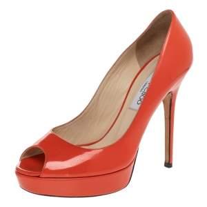 Jimmy Choo Orange Patent Leather Peep Toe Platform Pumps Size 38