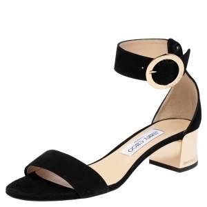 Jimmy Choo Black Suede Jamie Ankle Strap Sandals Size 37.5