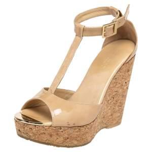 Jimmy Choo Beige Patent Leather Pela Cork Wedge Sandals Size 37.5