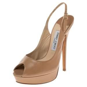 Jimmy Choo Beige Leather Nova Peep Toe Slingback Platform Sandals Size 38