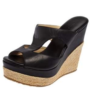 Jimmy Choo Black Cut Out Leather Pledge Espadrille Wedge Sandals Size 39