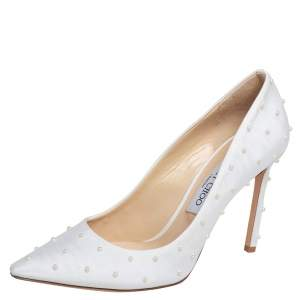 Jimmy Choo White Canvas Romy Pearl Embellished Pointed Toe Pumps 39.5