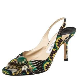 Jimmy Choo Multicolor Printed Satin Green Stone Embellished Slingback Sandals Size 37.5