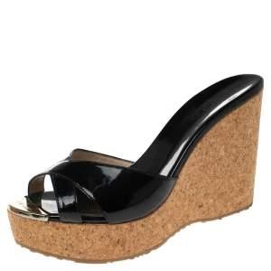 Jimmy Choo Black Patent Leather Perfume Cork Wedge Sandals Size 39