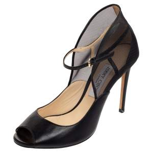 Jimmy Choo Black Leather And Mesh Trudie Peep Toe Ankle Strap Pumps Size 39