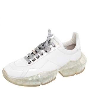 Jimmy Choo White Leather and Patent Leather Diamond Low Top Sneakers Size 39