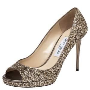 Jimmy Choo Gold Glitter Fabric Luna Peep Toe Platform Pumps Size 37.5