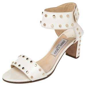 Jimmy Choo white  Studded Leather Veto Ankle Strap Open Toe Sandals Size 38.5