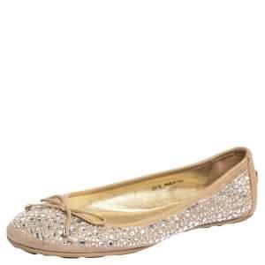 Jimmy Choo Beige Crystal Embellished Suede Weber Ballet Flats Size 36.5