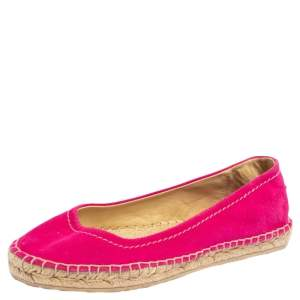 Jimmy Choo Pink Suede Espadrille Flats Size 37